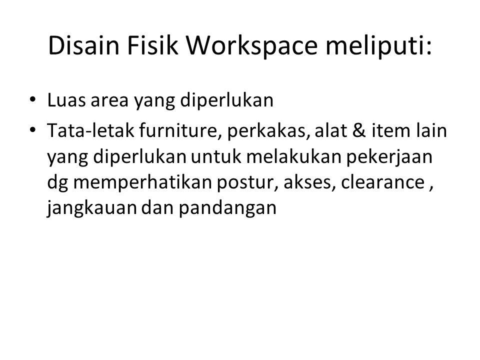 Disain Fisik Workspace meliputi: Luas area yang diperlukan Tata-letak furniture, perkakas, alat & item lain yang diperlukan untuk melakukan pekerjaan dg memperhatikan postur, akses, clearance, jangkauan dan pandangan