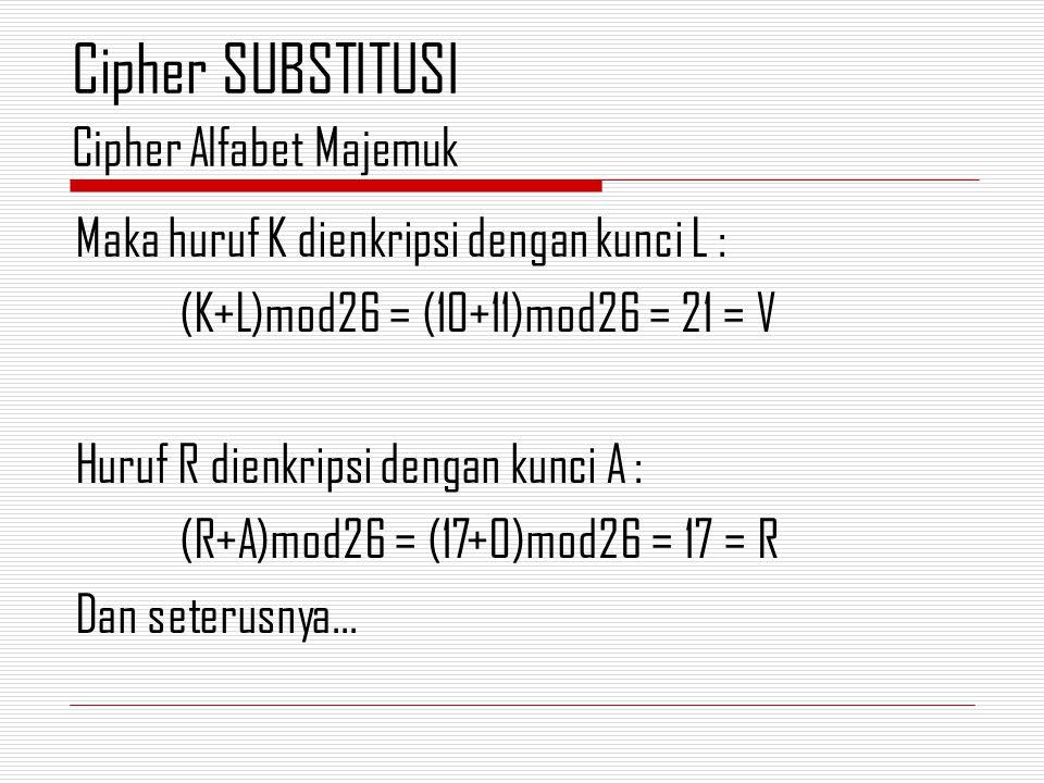 Maka huruf K dienkripsi dengan kunci L : (K+L)mod26 = (10+11)mod26 = 21 = V Huruf R dienkripsi dengan kunci A : (R+A)mod26 = (17+0)mod26 = 17 = R Dan