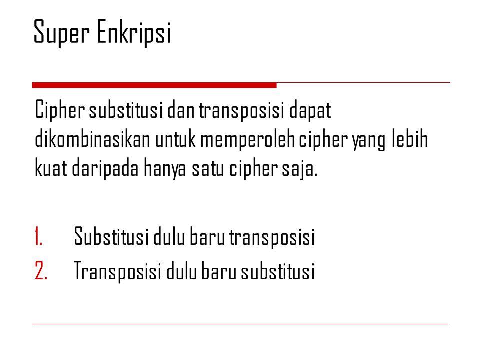 Cipher substitusi dan transposisi dapat dikombinasikan untuk memperoleh cipher yang lebih kuat daripada hanya satu cipher saja. 1.Substitusi dulu baru