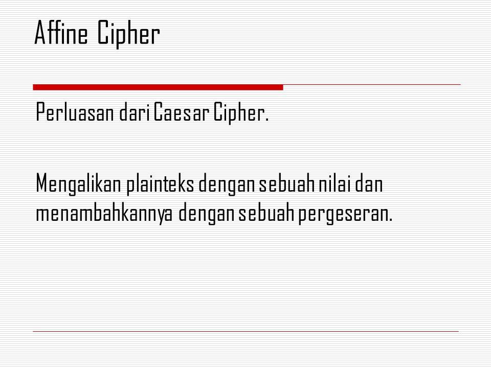 Perluasan dari Caesar Cipher. Mengalikan plainteks dengan sebuah nilai dan menambahkannya dengan sebuah pergeseran. Affine Cipher