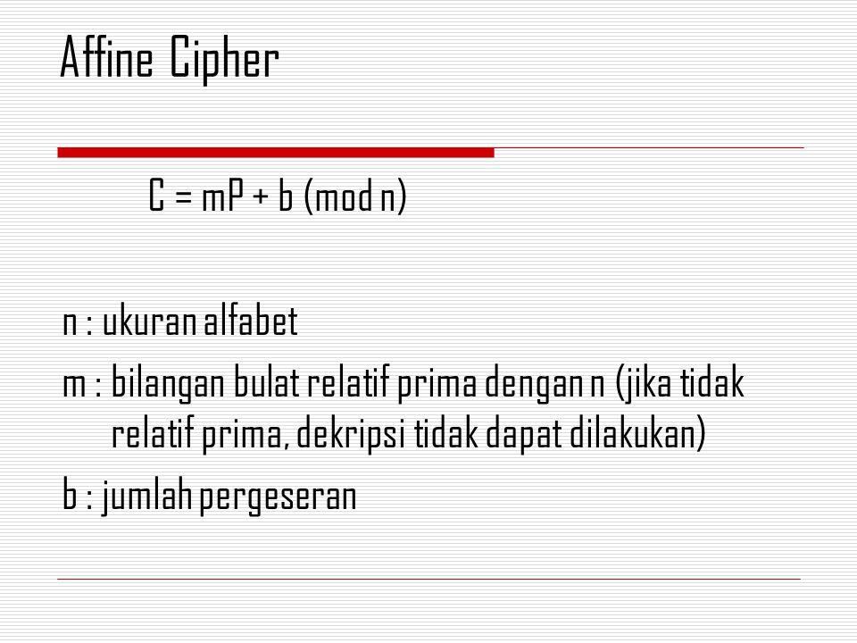 C = mP + b (mod n) n : ukuran alfabet m : bilangan bulat relatif prima dengan n (jika tidak relatif prima, dekripsi tidak dapat dilakukan) b : jumlah