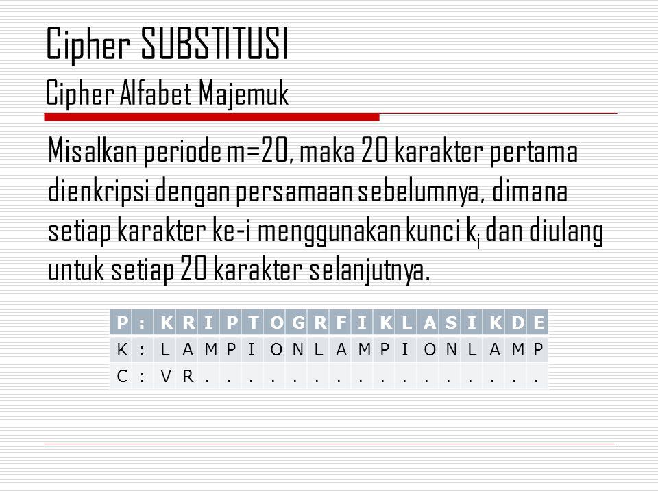Misalkan periode m=20, maka 20 karakter pertama dienkripsi dengan persamaan sebelumnya, dimana setiap karakter ke-i menggunakan kunci k i dan diulang