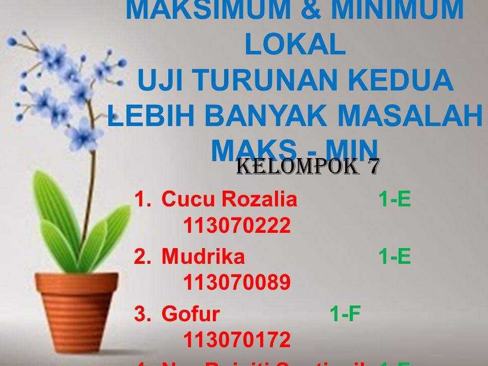 MAKSIMUM & MINIMUM LOKAL UJI TURUNAN KEDUA LEBIH BANYAK MASALAH MAKS - MIN KELOMPOK 7 1.Cucu Rozalia1-E 113070222 2.Mudrika1-E 113070089 3.Gofur1-F 113070172 4.Nur Baiyiti Septiasih1-F 113070066 5.Shah Moh.Reza Fahlevi 1-F 113070148