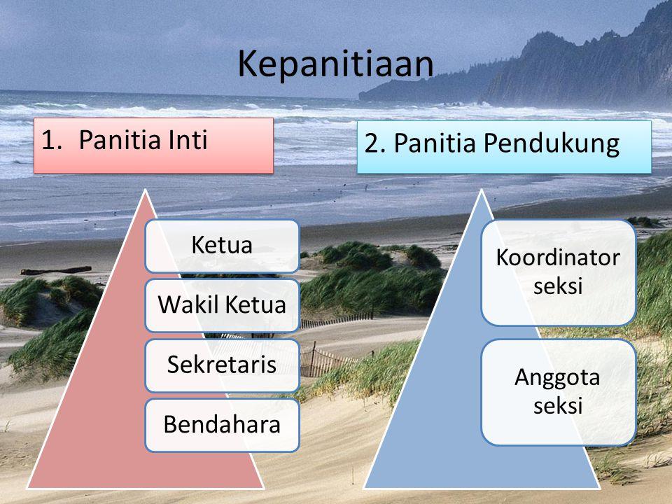 Kepanitiaan 1.Panitia Inti KetuaWakil KetuaSekretarisBendahara Koordinator seksi Anggota seksi 2.