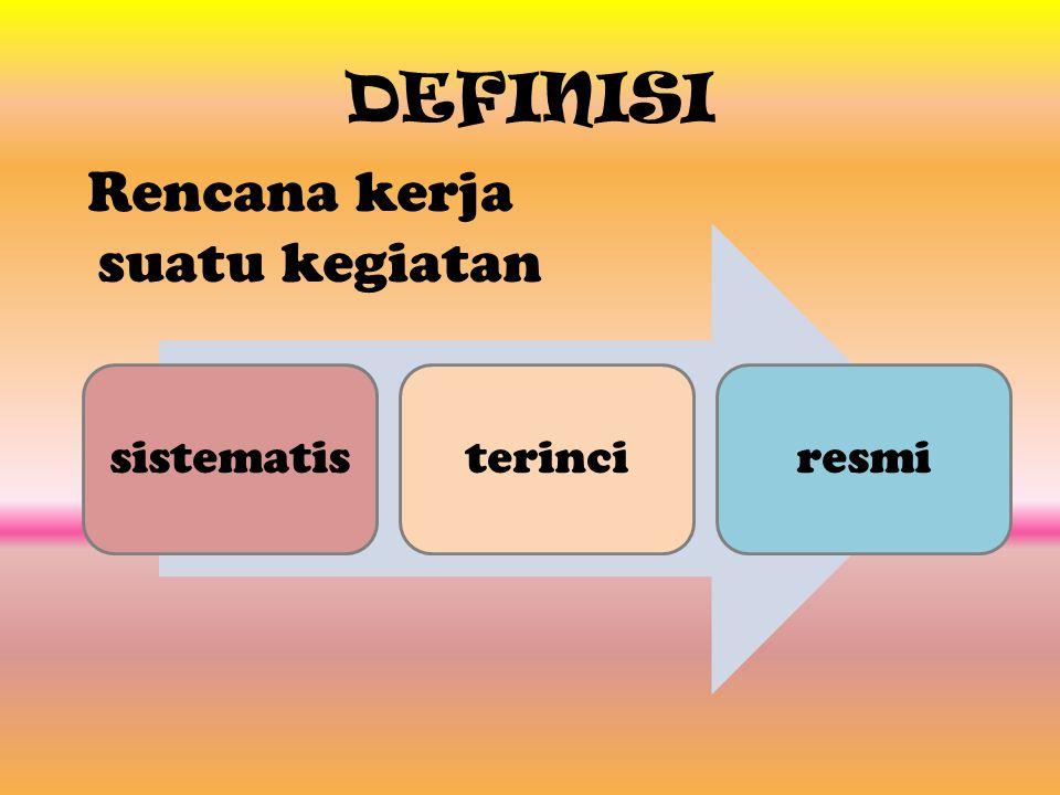 DEFINISI Rencana kerja suatu kegiatan sistematisterinciresmi