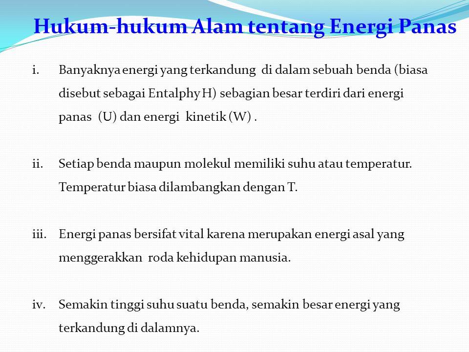 Hukum-hukum Alam tentang Energi Panas i.Banyaknya energi yang terkandung di dalam sebuah benda (biasa disebut sebagai Entalphy H) sebagian besar terdiri dari energi panas (U) dan energi kinetik (W).