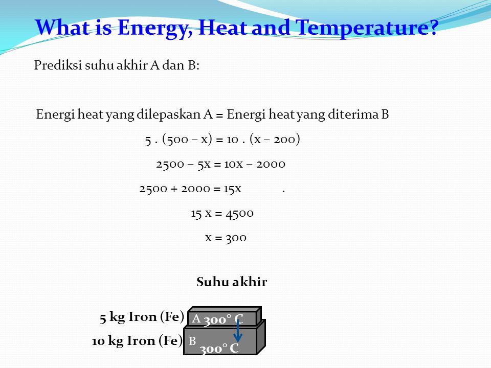 What is Energy, Heat and Temperature? B A 10 kg Iron (Fe) 5 kg Iron (Fe) 300° C Prediksi suhu akhir A dan B: Energi heat yang dilepaskan A = Energi he