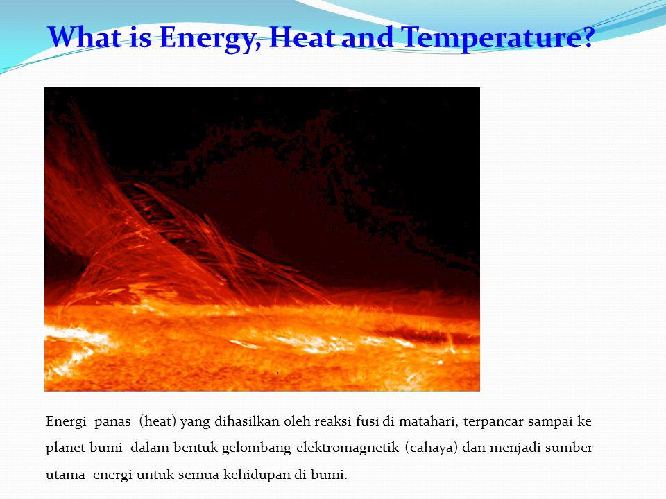 Energi panas (heat) yang dihasilkan oleh reaksi fusi di matahari, terpancar sampai ke planet bumi dalam bentuk gelombang elektromagnetik (cahaya) dan menjadi sumber utama energi untuk semua kehidupan di bumi.