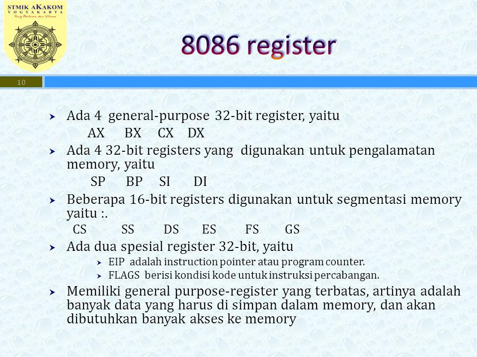  Ada 4 general-purpose 32-bit register, yaitu AX BX CX DX  Ada 4 32-bit registers yang digunakan untuk pengalamatan memory, yaitu SP BP SI DI  Bebe