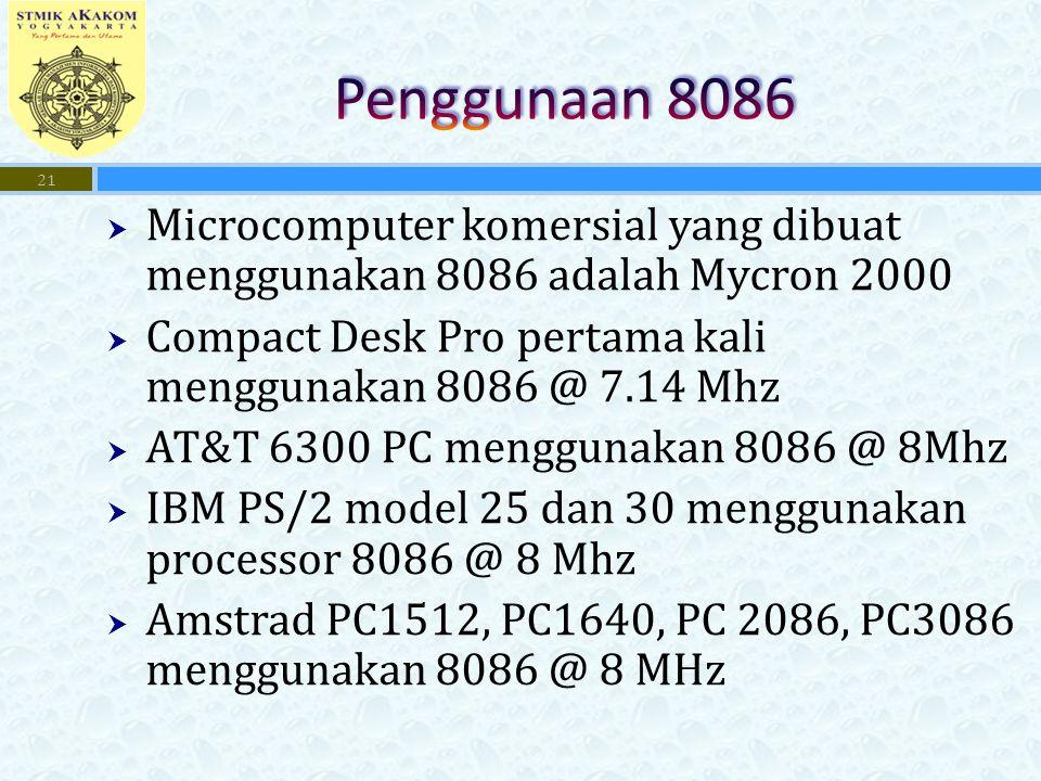  Microcomputer komersial yang dibuat menggunakan 8086 adalah Mycron 2000  Compact Desk Pro pertama kali menggunakan 8086 @ 7.14 Mhz  AT&T 6300 PC m