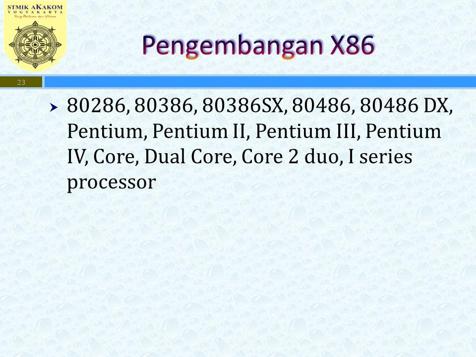  80286, 80386, 80386SX, 80486, 80486 DX, Pentium, Pentium II, Pentium III, Pentium IV, Core, Dual Core, Core 2 duo, I series processor 23