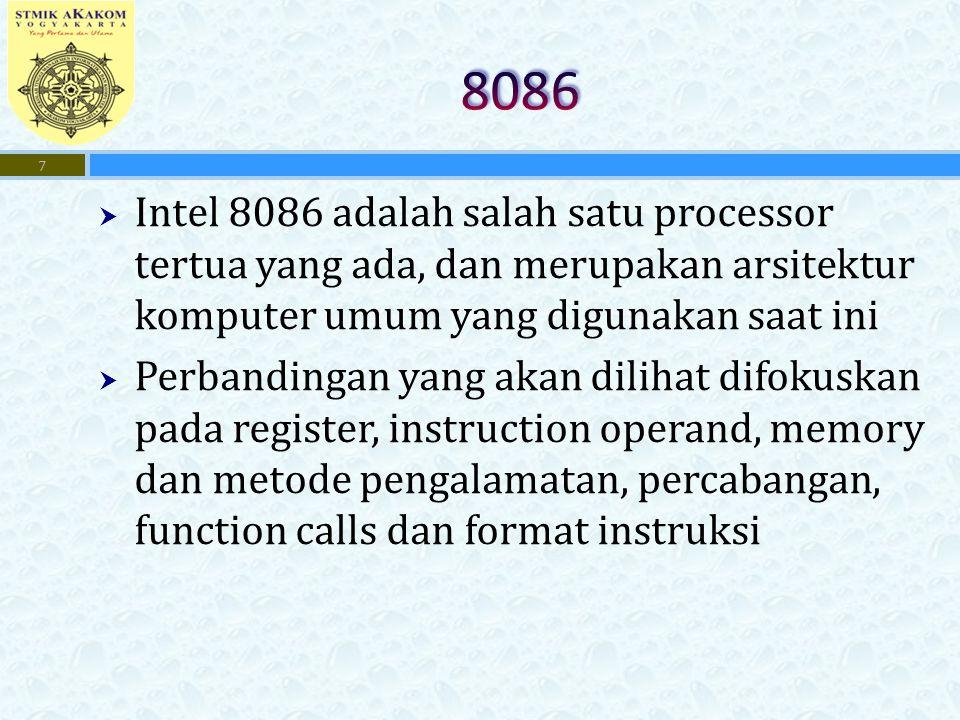  Intel 8086 adalah salah satu processor tertua yang ada, dan merupakan arsitektur komputer umum yang digunakan saat ini  Perbandingan yang akan dili