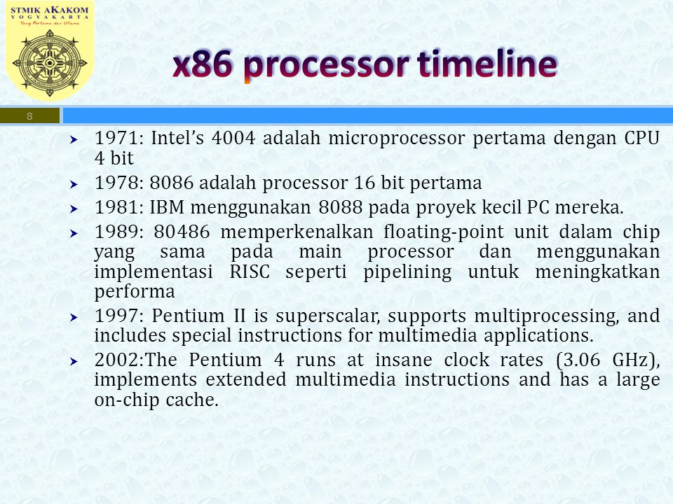  1971: Intel's 4004 adalah microprocessor pertama dengan CPU 4 bit  1978: 8086 adalah processor 16 bit pertama  1981: IBM menggunakan 8088 pada pro