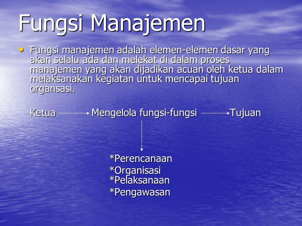 Fungsi Manajemen Fungsi manajemen adalah elemen-elemen dasar yang akan selalu ada dan melekat di dalam proses manajemen yang akan dijadikan acuan oleh ketua dalam melaksanakan kegiatan untuk mencapai tujuan organsasi.
