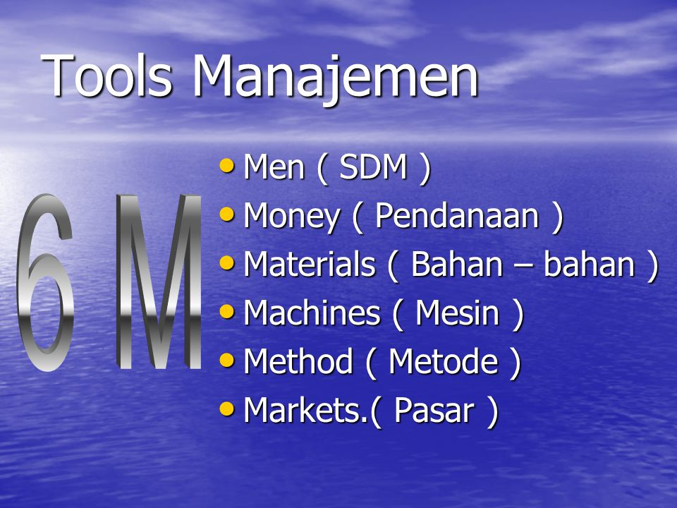 Tools Manajemen Men ( SDM ) Men ( SDM ) Money ( Pendanaan ) Money ( Pendanaan ) Materials ( Bahan – bahan ) Materials ( Bahan – bahan ) Machines ( Mesin ) Machines ( Mesin ) Method ( Metode ) Method ( Metode ) Markets.( Pasar ) Markets.( Pasar )