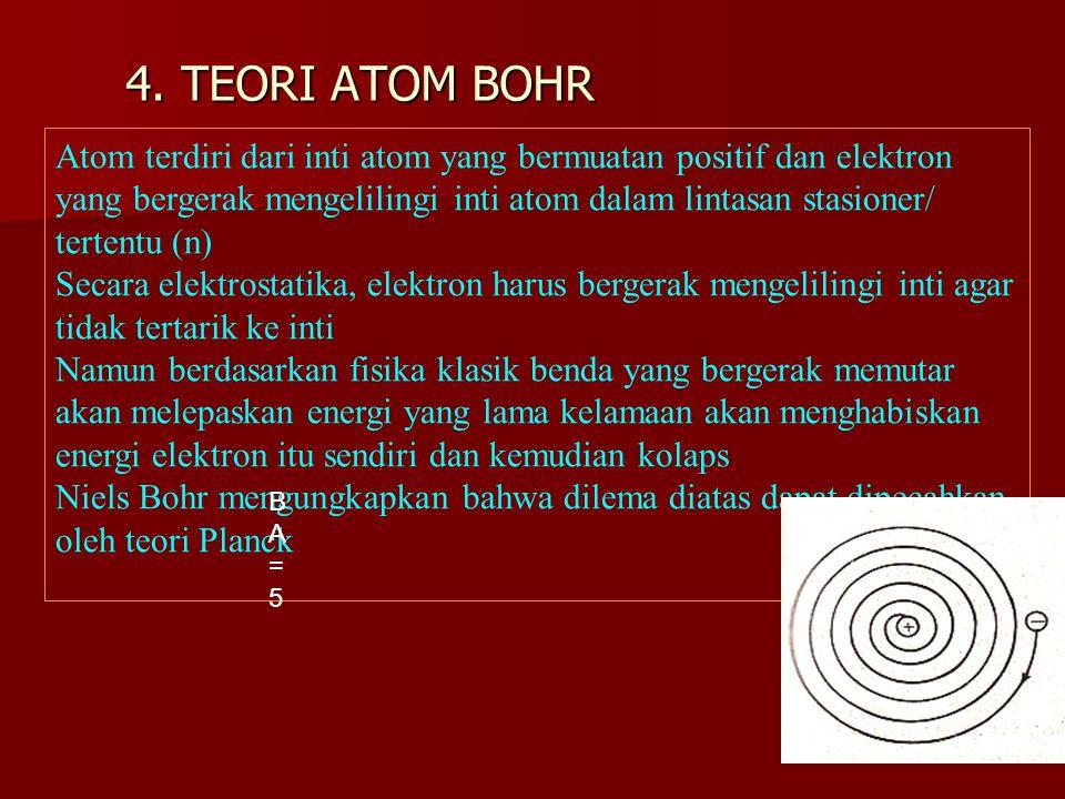 4. TEORI ATOM BOHR Atom terdiri dari inti atom yang bermuatan positif dan elektron yang bergerak mengelilingi inti atom dalam lintasan stasioner/ tert