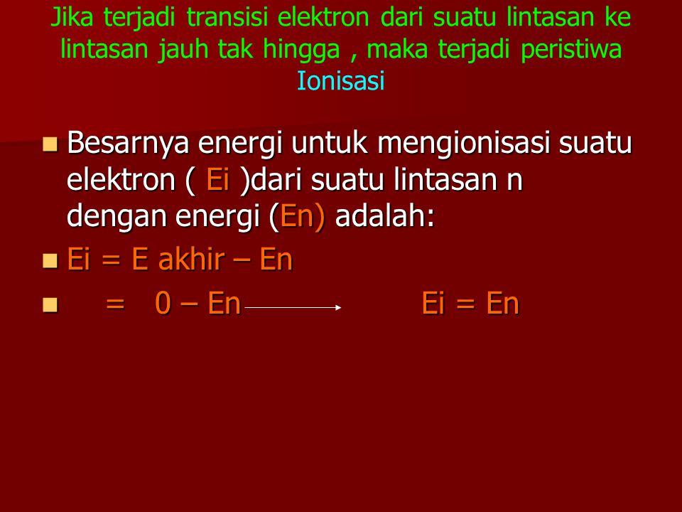 Jika terjadi transisi elektron dari suatu lintasan ke lintasan jauh tak hingga, maka terjadi peristiwa Ionisasi Besarnya energi untuk mengionisasi sua