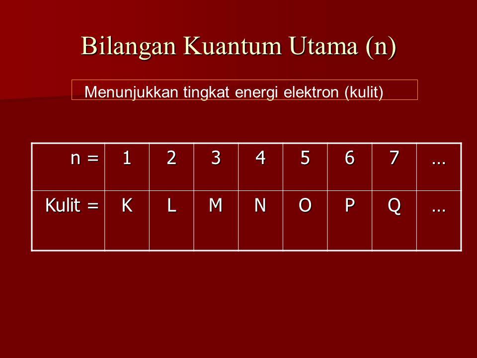 Bilangan Kuantum Utama (n) Menunjukkan tingkat energi elektron (kulit) n = 1234567… Kulit = KLMNOPQ…