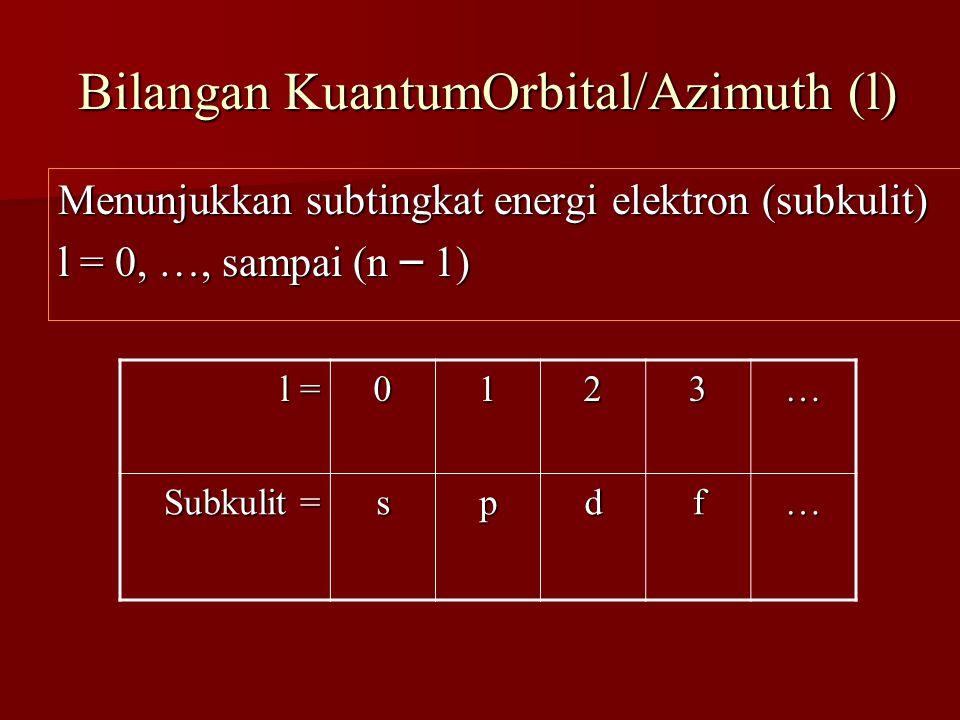 Bilangan KuantumOrbital/Azimuth (l) Bilangan KuantumOrbital/Azimuth (l) Menunjukkan subtingkat energi elektron (subkulit) l = 0, …, sampai (n – 1) l =
