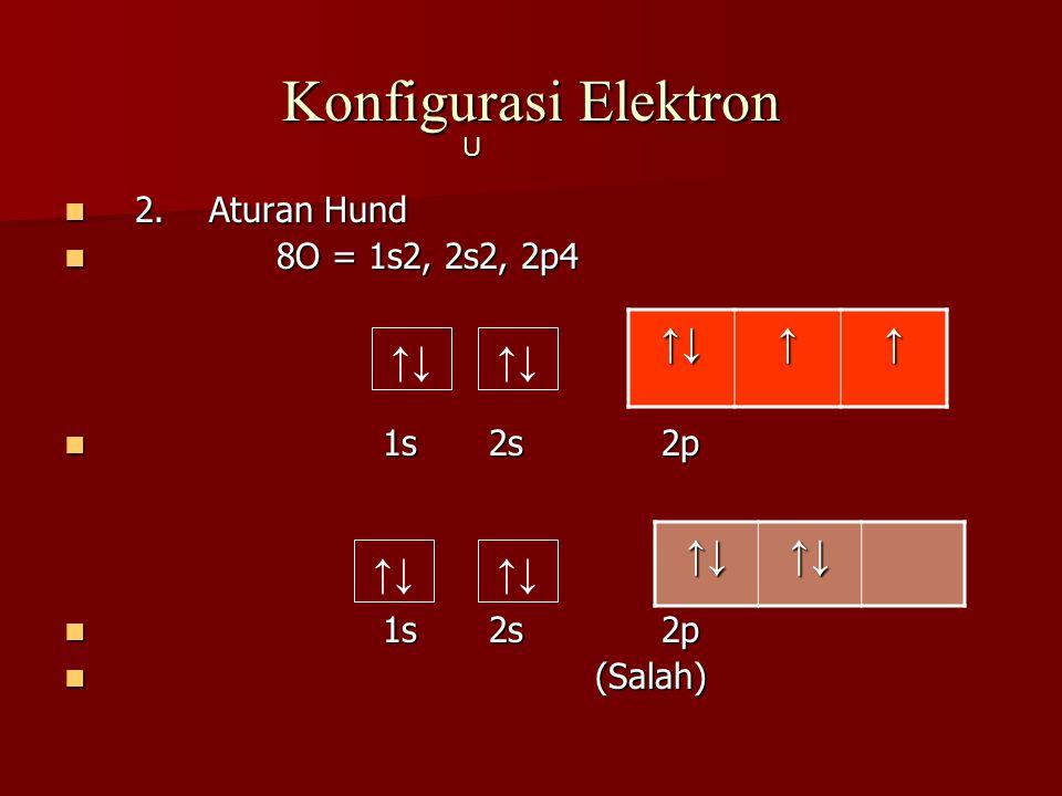 Konfigurasi Elektron 2. Aturan Hund 2. Aturan Hund 8O = 1s2, 2s2, 2p4 8O = 1s2, 2s2, 2p4 1s2s 2p 1s2s 2p (Salah) (Salah) ↑↓↑↑ U ↑↓ ↑↓↑↓