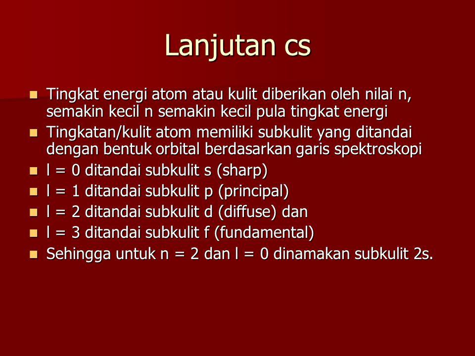 Lanjutan cs Tingkat energi atom atau kulit diberikan oleh nilai n, semakin kecil n semakin kecil pula tingkat energi Tingkat energi atom atau kulit di