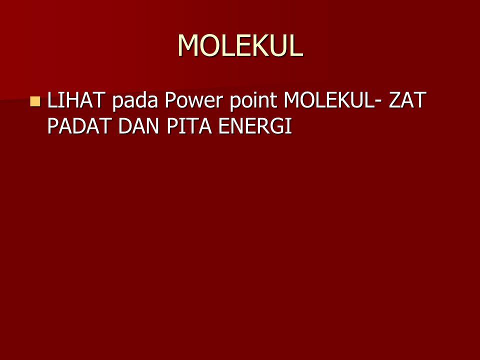 MOLEKUL LIHAT pada Power point MOLEKUL- ZAT PADAT DAN PITA ENERGI LIHAT pada Power point MOLEKUL- ZAT PADAT DAN PITA ENERGI