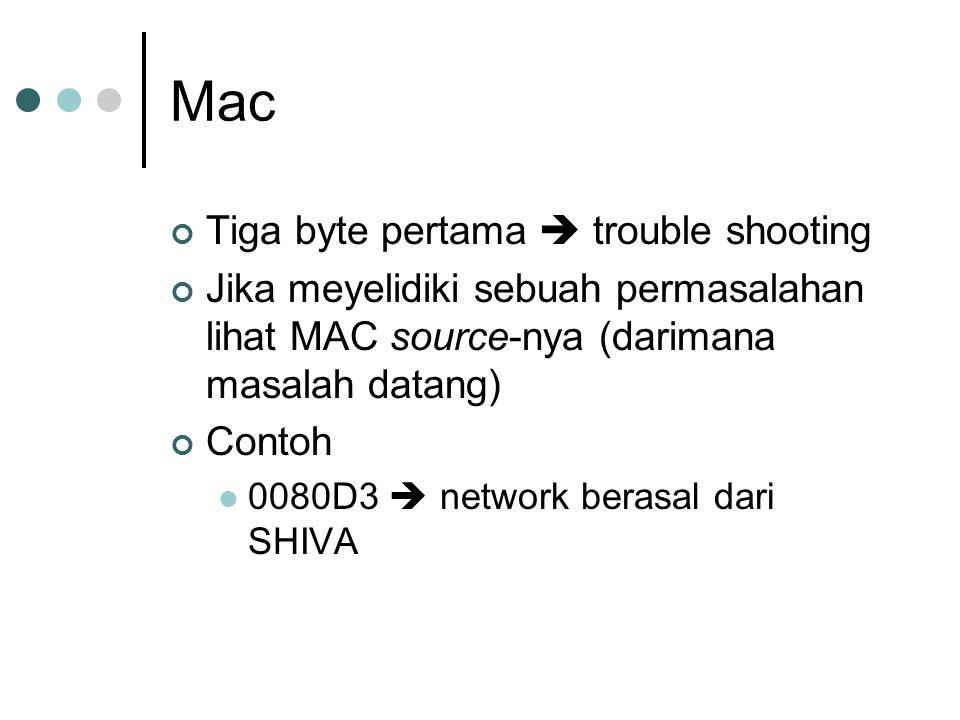 Mac Tiga byte pertama  trouble shooting Jika meyelidiki sebuah permasalahan lihat MAC source-nya (darimana masalah datang) Contoh 0080D3  network be
