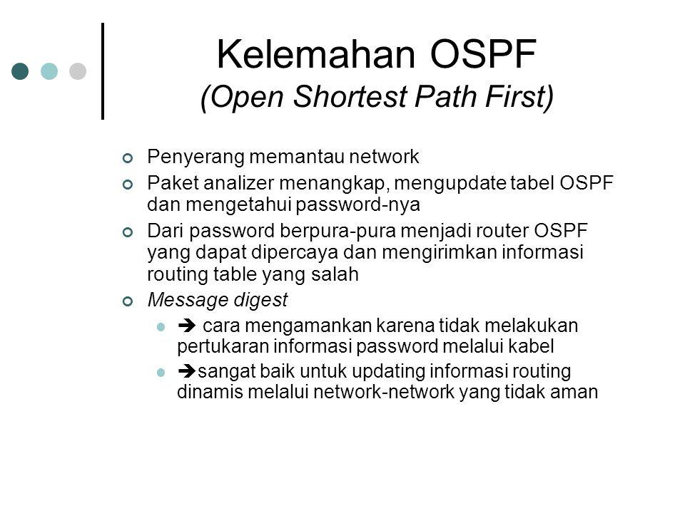 Kelemahan OSPF (Open Shortest Path First) Penyerang memantau network Paket analizer menangkap, mengupdate tabel OSPF dan mengetahui password-nya Dari