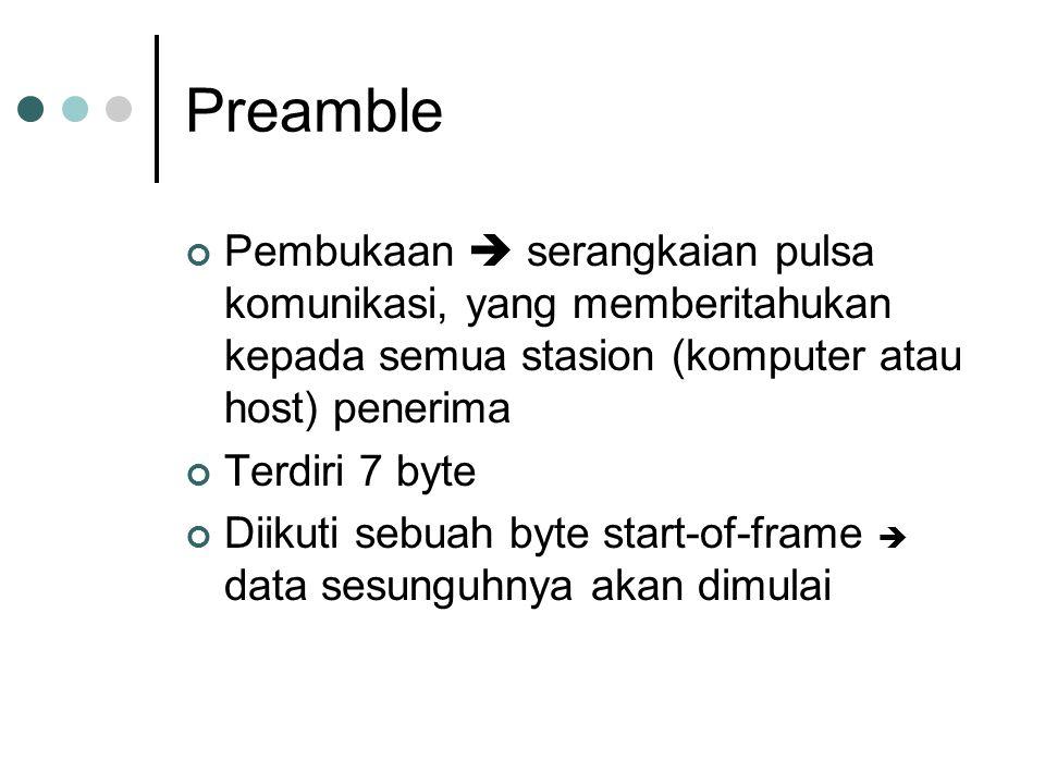 Preamble Pembukaan  serangkaian pulsa komunikasi, yang memberitahukan kepada semua stasion (komputer atau host) penerima Terdiri 7 byte Diikuti sebua
