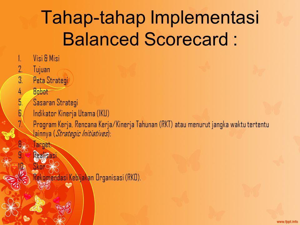 Tahap-tahap Implementasi Balanced Scorecard : 1.Visi & Misi 2.Tujuan 3.Peta Strategi 4.Bobot 5.Sasaran Strategi 6.Indikator Kinerja Utama (IKU) 7.Program Kerja, Rencana Kerja/Kinerja Tahunan (RKT) atau menurut jangka waktu tertentu lainnya (Strategic Initiatives); 8.Target; 9.Realisasi 10.Skor 11.Rekomendasi Kebijakan Organisasi (RKO).