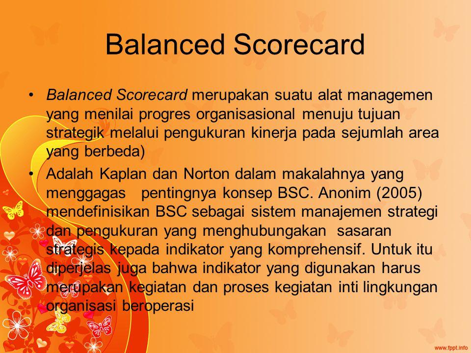Balanced Scorecard Balanced Scorecard merupakan suatu alat managemen yang menilai progres organisasional menuju tujuan strategik melalui pengukuran kinerja pada sejumlah area yang berbeda) Adalah Kaplan dan Norton dalam makalahnya yang menggagas pentingnya konsep BSC.