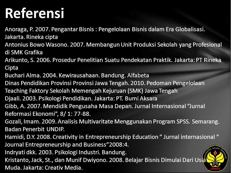 Referensi Anoraga, P. 2007. Pengantar Bisnis : Pengelolaan Bisnis dalam Era Globalisasi.