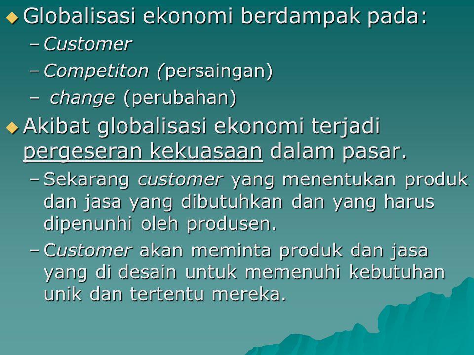  Globalisasi ekonomi berdampak pada: –Customer –Competiton (persaingan) – change (perubahan)  Akibat globalisasi ekonomi terjadi pergeseran kekuasaan dalam pasar.