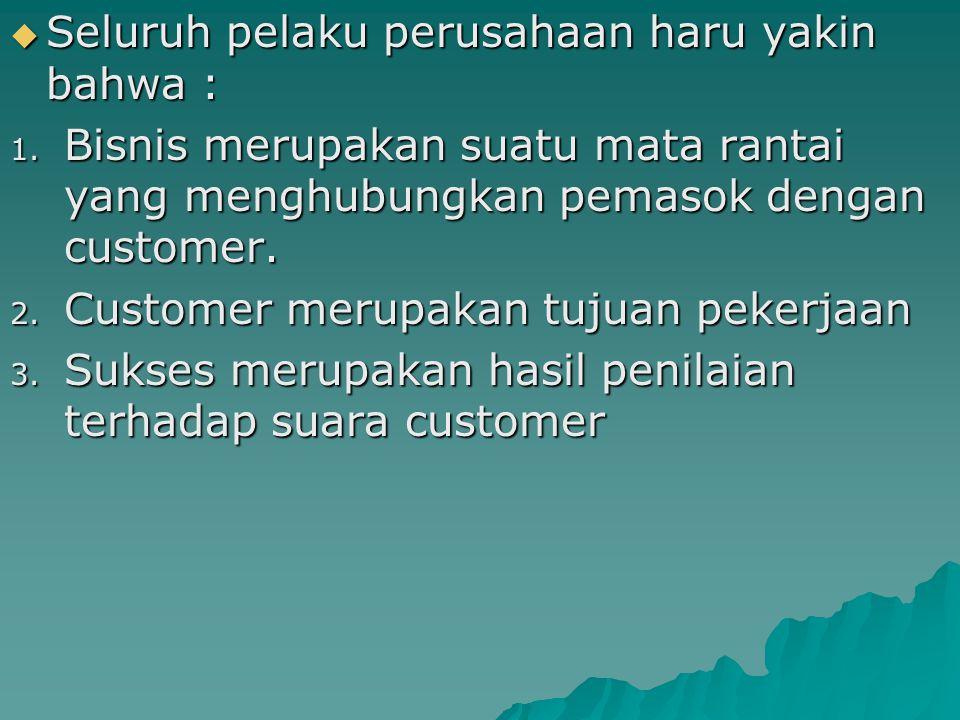  Seluruh pelaku perusahaan haru yakin bahwa : 1. Bisnis merupakan suatu mata rantai yang menghubungkan pemasok dengan customer. 2. Customer merupakan