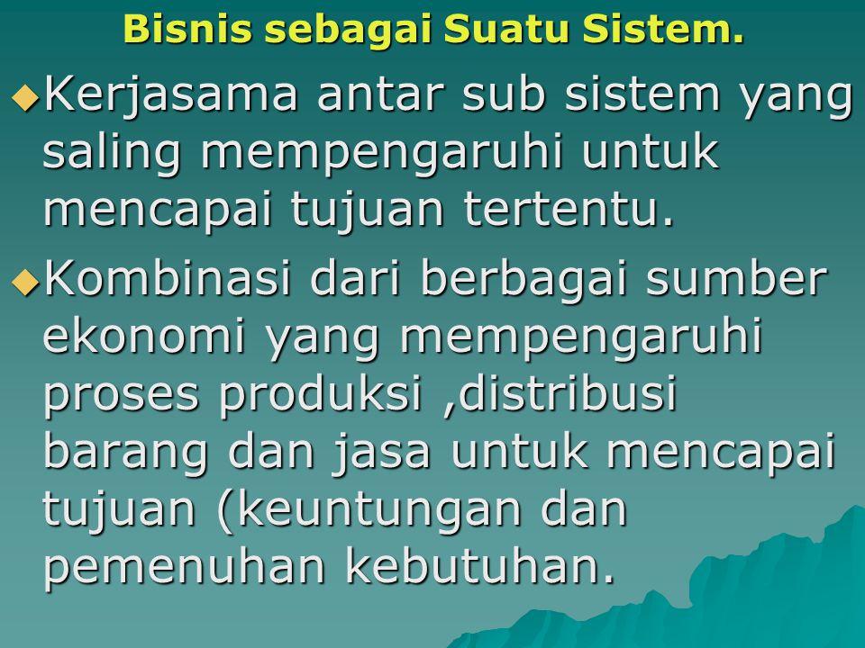 Bisnis sebagai Suatu Sistem. Bisnis sebagai Suatu Sistem.  Kerjasama antar sub sistem yang saling mempengaruhi untuk mencapai tujuan tertentu.  Komb