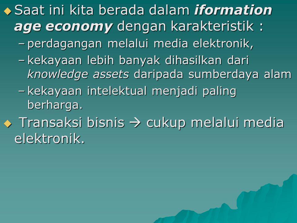  Saat ini kita berada dalam iformation age economy dengan karakteristik : –perdagangan melalui media elektronik, –kekayaan lebih banyak dihasilkan dari knowledge assets daripada sumberdaya alam –kekayaan intelektual menjadi paling berharga.