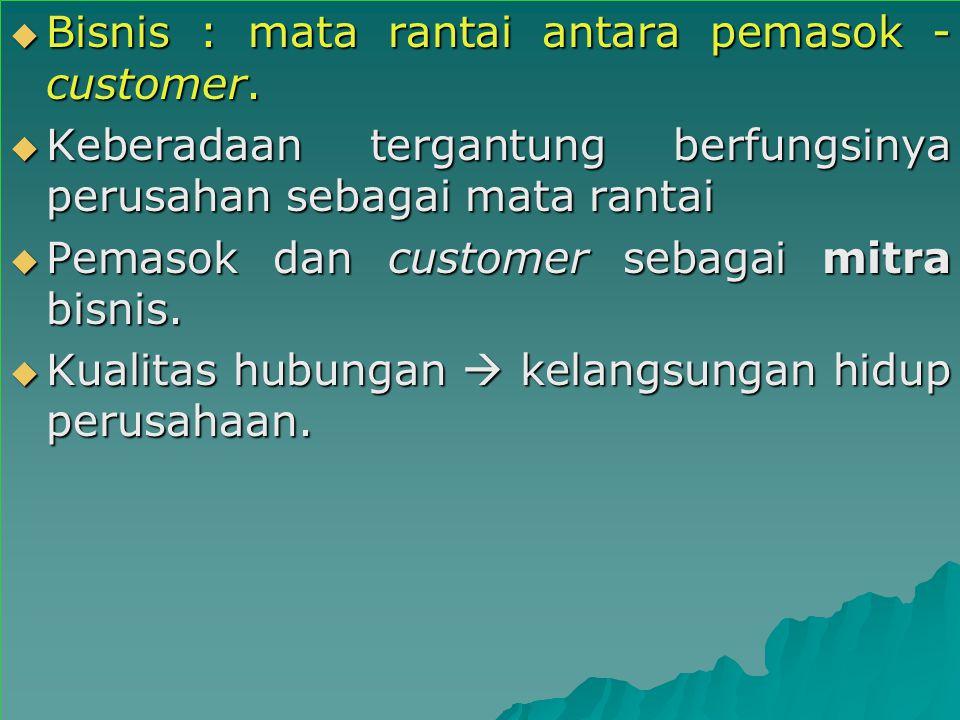  Bisnis : mata rantai antara pemasok - customer.  Keberadaan tergantung berfungsinya perusahan sebagai mata rantai  Pemasok dan customer sebagai mi