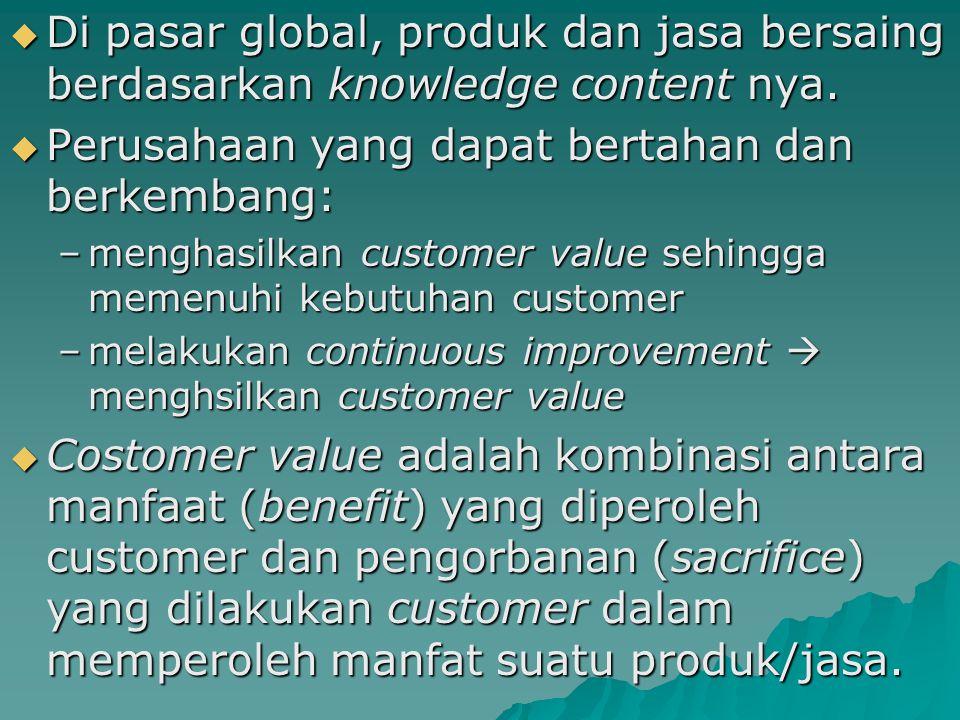 Di pasar global, produk dan jasa bersaing berdasarkan knowledge content nya.  Perusahaan yang dapat bertahan dan berkembang: –menghasilkan customer
