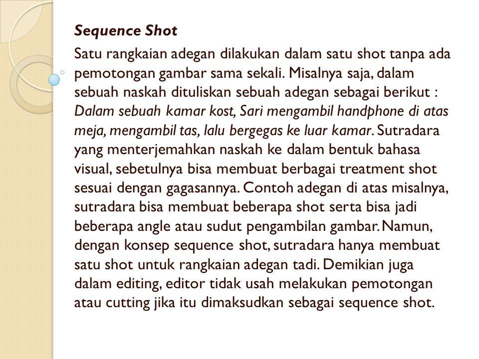 Sequence Shot Satu rangkaian adegan dilakukan dalam satu shot tanpa ada pemotongan gambar sama sekali. Misalnya saja, dalam sebuah naskah dituliskan s