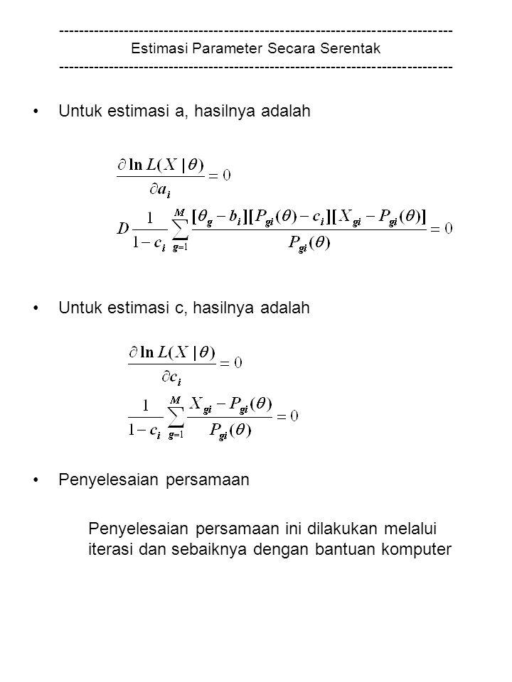 ------------------------------------------------------------------------------ Estimasi Parameter Secara Serentak ------------------------------------