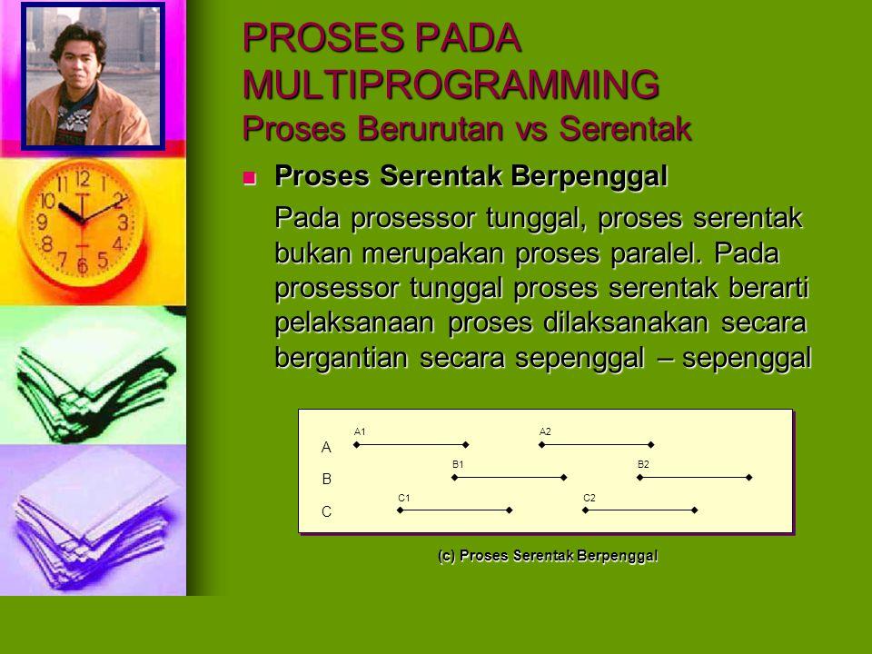 A B C P A2A1A3 B2B1B3 C2C1C3 A2A1A3 B2B1B3C2C1C3 PROSES PADA MULTIPROGRAMMING Kerja Prosesor Kerja Prosesor pada Proses Berurutan Kerja Prosesor pada Proses Berurutan Kerja Prosesor pada Proses Serentak Kerja Prosesor pada Proses Serentak A B C P A2A1A3 B2B1B3 C2C1C3 A2A1A3 B2B1B3C2C1C3