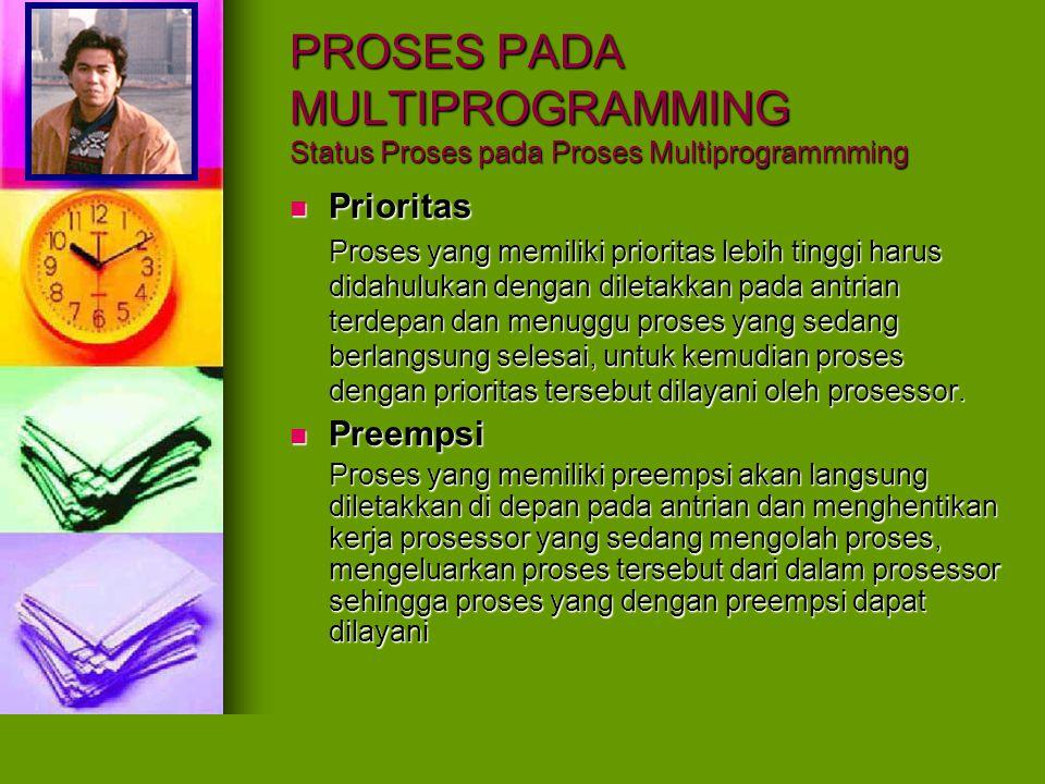 PROSES PADA MULTIPROGRAMMING Status Proses pada Proses Multiprogrammming Jangka Penjadwalan Jangka Penjadwalan Karena preempsi maka ada proses yang dikeluarkan dari prosessor sehingga ada proses yang belum rampung.