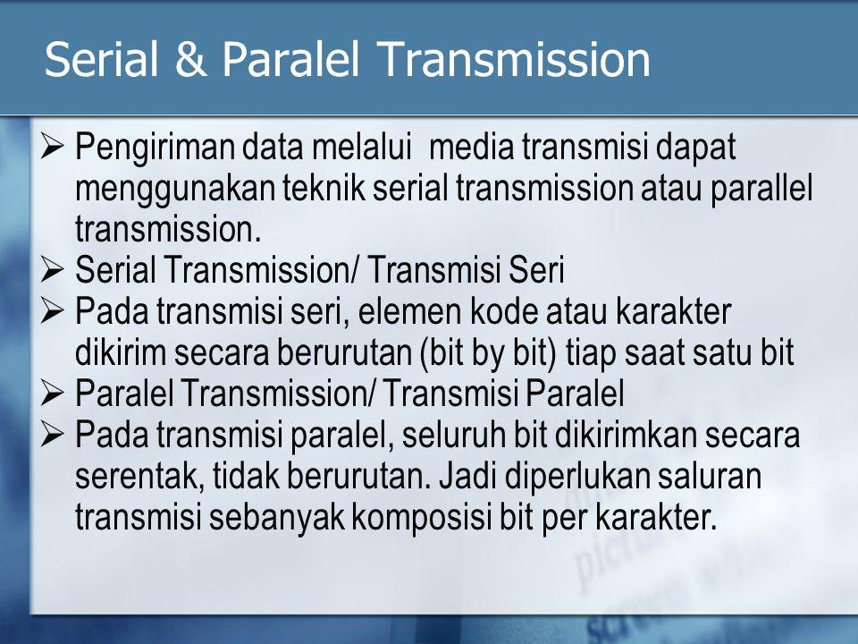 Serial & Paralel Transmission  Pengiriman data melalui media transmisi dapat menggunakan teknik serial transmission atau parallel transmission.