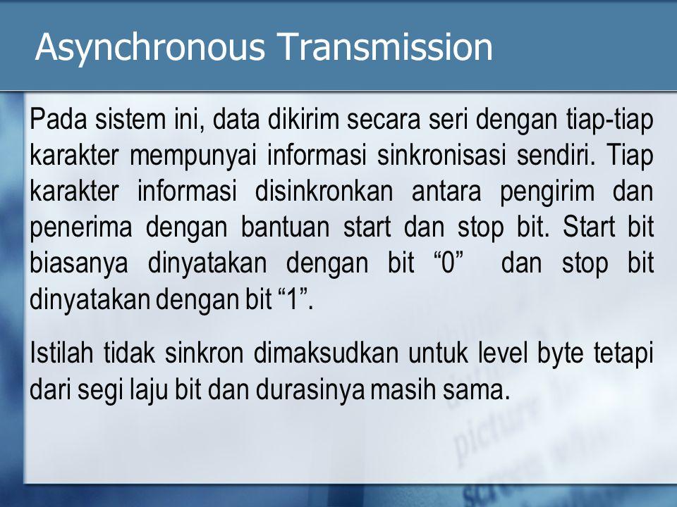 Asynchronous Transmission Pada sistem ini, data dikirim secara seri dengan tiap-tiap karakter mempunyai informasi sinkronisasi sendiri.