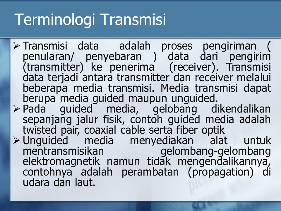 Terminologi Transmisi  Transmisi data adalah proses pengiriman ( penularan/ penyebaran ) data dari pengirim (transmitter) ke penerima (receiver).