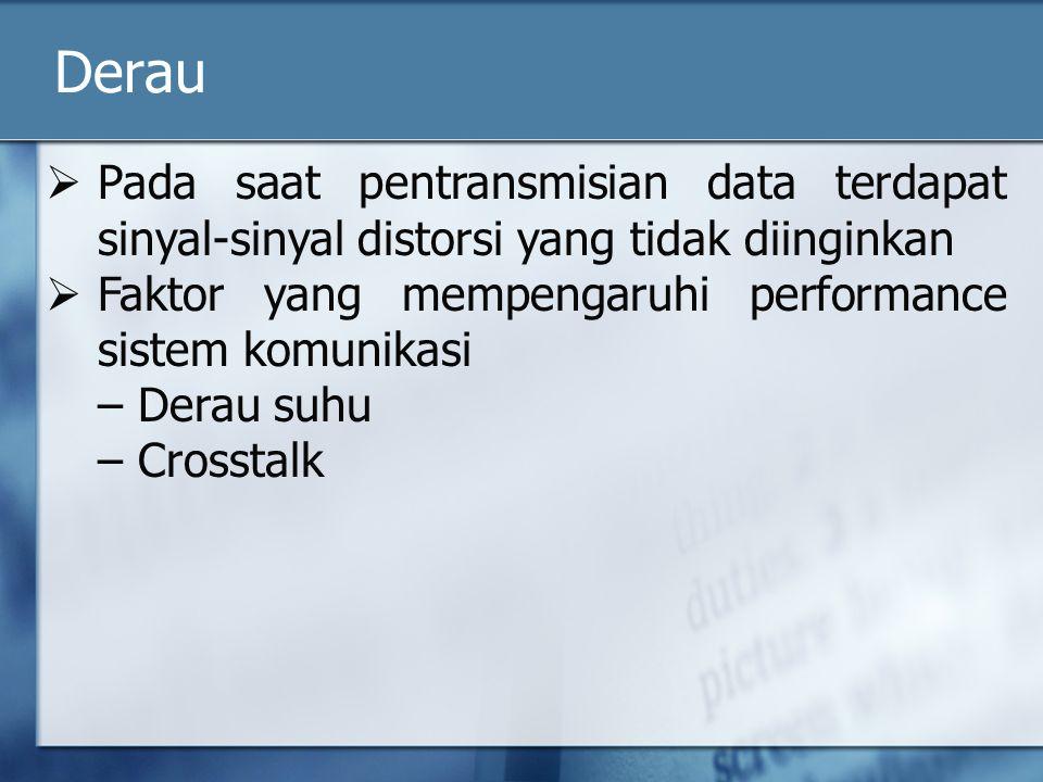Derau  Pada saat pentransmisian data terdapat sinyal-sinyal distorsi yang tidak diinginkan  Faktor yang mempengaruhi performance sistem komunikasi – Derau suhu – Crosstalk