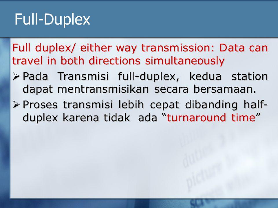 Full-Duplex Full duplex/ either way transmission: Data can travel in both directions simultaneously  Pada Transmisi full-duplex, kedua station dapat mentransmisikan secara bersamaan.