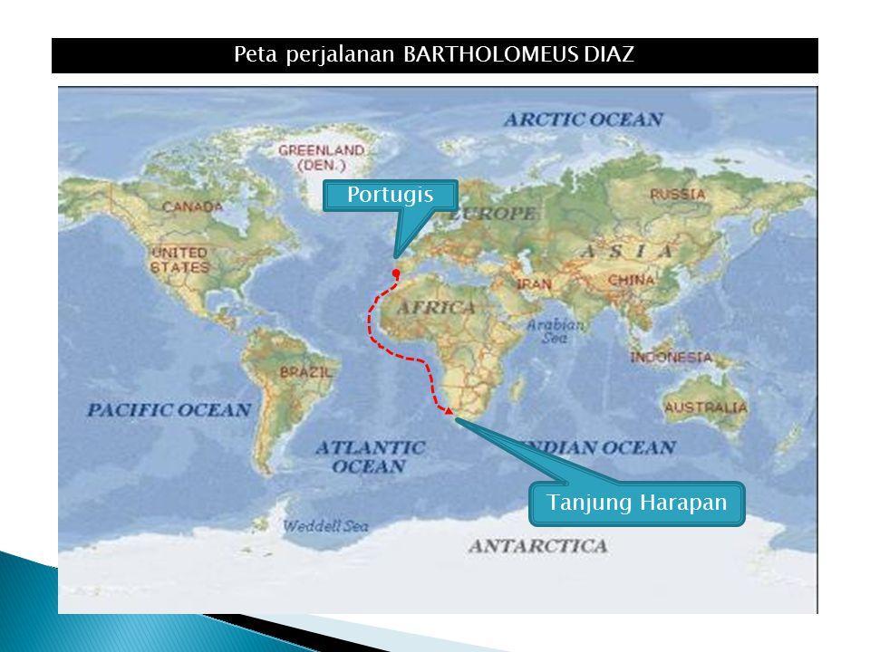 Peta perjalanan BARTHOLOMEUS DIAZ Tanjung Harapan Portugis