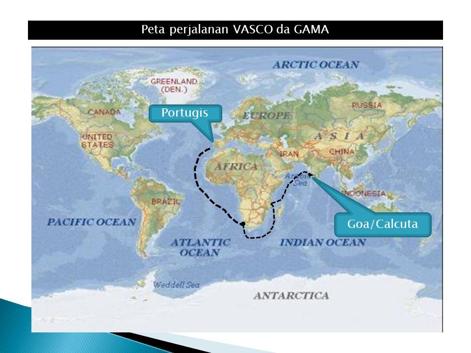 Peta perjalanan VASCO da GAMA Goa/Calcuta Portugis