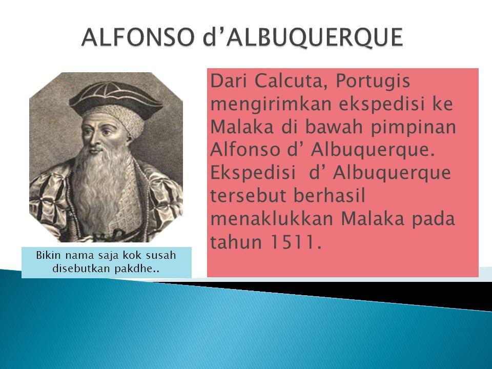 Dari Calcuta, Portugis mengirimkan ekspedisi ke Malaka di bawah pimpinan Alfonso d' Albuquerque. Ekspedisi d' Albuquerque tersebut berhasil menaklukka